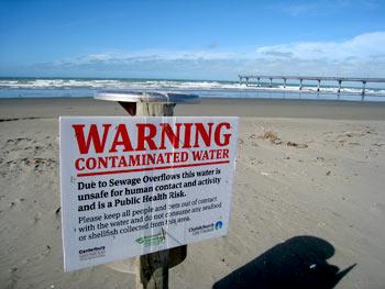 地震後のニューブライトンビーチ