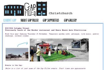 クライストチャーチ地震で崩れた建物の跡地でGap Fillerイベント